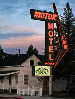 Motel Sign in Bridgeport CA at Dusk