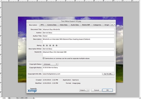 Metadata Appears in Photoshop CS4
