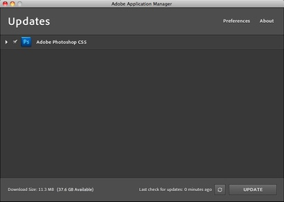 CS5 Update Window