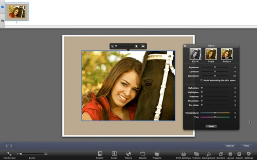 iPhoto Custom Print Dialog
