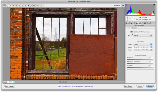 Adobe Camera Raw Lens Correction On