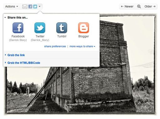 New Share Feature in Flickr