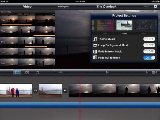 iMovie for the iPad 2