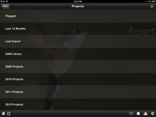 Aperture Projects Listed on an iPad Running Plex