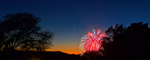 Venus Setting at Twilight with Fireworks